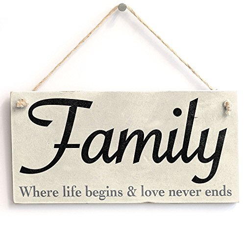 (Meijiafei 'Family - Where Life Begins & Love Never Ends' - Vintage PVC Sign/Plaque)