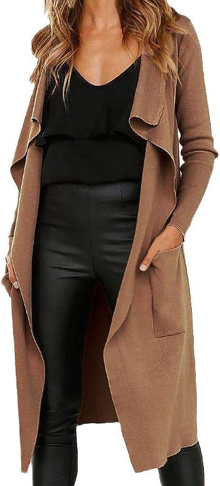 JESPER Women Swing Faux Leather Open Front Long Cardigan Waterfall Collar Jacket Solid Coat
