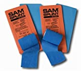 SAM Splint Combo Pack - 2 Orange & Blue Splints and 2 rolls Blue Cohesive Wrap