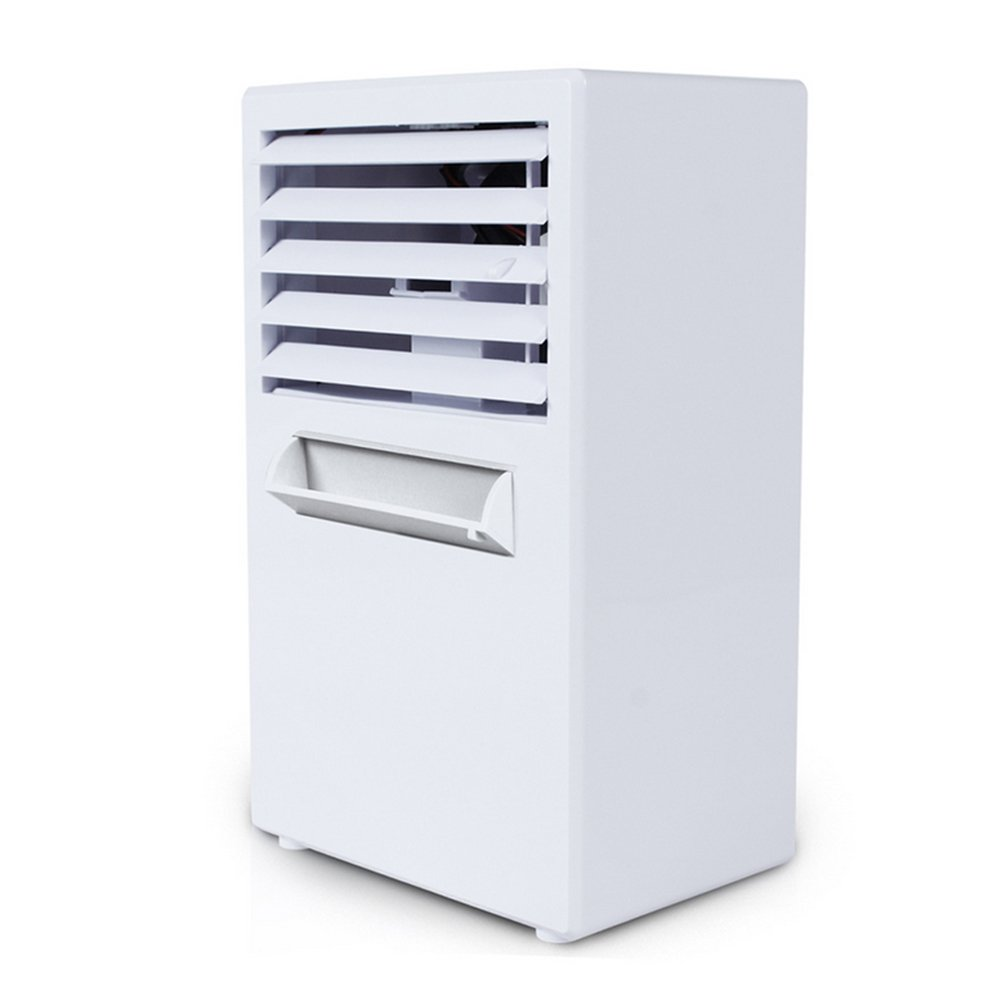 GHQ Air Cooler Fan Air Personal Space Cooler Portable Mini Air Conditioner Device Cool Soothing Wind For Home Room Office Desk, White