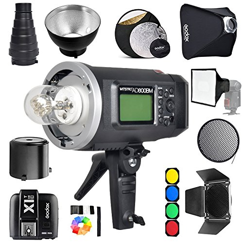 Godox AD600BM Bowens Mount 600Ws GN87 1/8000 HSS Outdoor Flash Strobe Monolight with X1T-C Wireless Trigger Compatible for Canon Camera& 32x32 inches SoftboxStandard Reflector &Barn Doo& Snoot