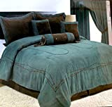 King Size Comforter Sets 110 X 96 Rustic Turquoise Western Barbwire Comforter - 7 Piece Set (Oversized King)