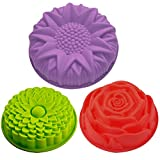 3 Pack Flower Shape Silicone Cake Bread Pie Flan Tart Molds, SENHAI Large Round Sunflower Chrysanthemum Rose Shape Non-Stick Baking Trays for Birthday Party DIY - Yellow,Red,Purple