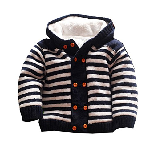 - Dealone Baby Boys Hooded Cardigan Jacket Long Sleeve Striped Knitted Sweater Toddler Winter Warm Outerwear