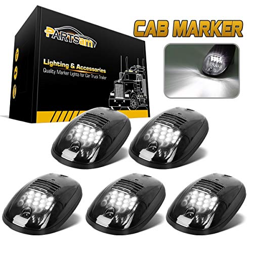 Partsam Cab Lights LED Cab Marker Top Roof Running Lights 5PCS Clear Lens White 9LED Assembly Light Compatible with Dodge Ram 1500 2500 3500 4500 5500 2003-2018 Pickup Trucks