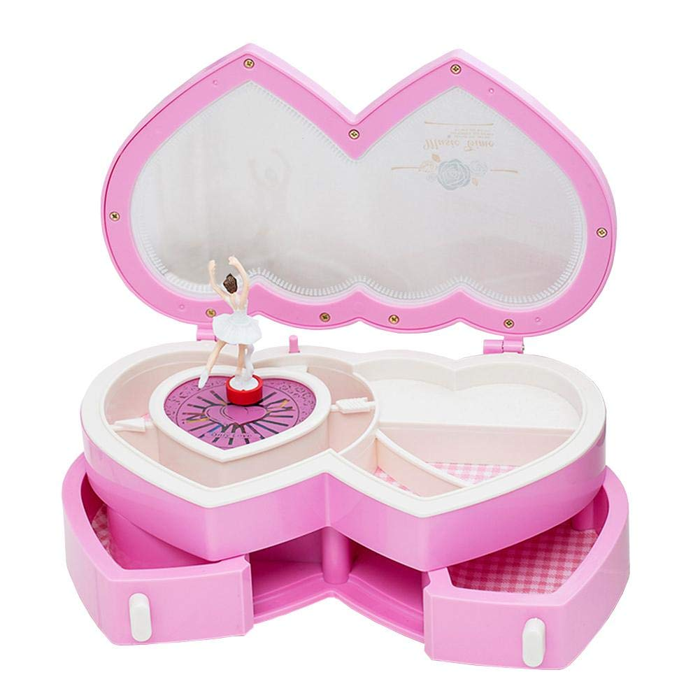 Per Double  Heart  -  Shaped  Music  Box  with  Rotating  Little  Girl  Ballet  Dancer  Jewelry  Case  Storage  Box  Birthday  Gift  for  Children