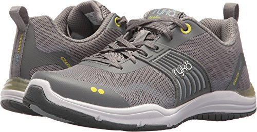 Ryka Women's Grafik Flow Cross Trainer, Frost Grey/Bright Chartreuse/Soft Blue, 9 M US