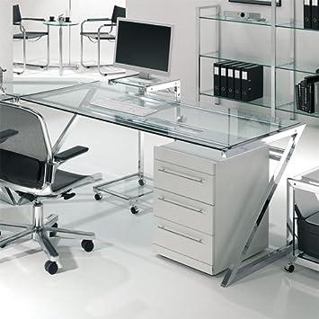 Hochwertiger Zino Design Schreibtisch Chrom Tischplatte Glas Klar