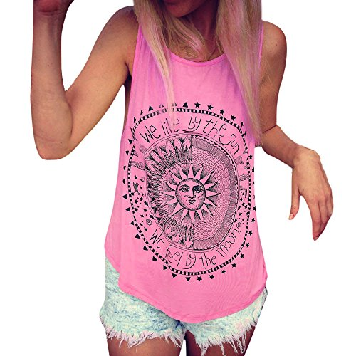 Aniywn Women Loose Sleeveless Vest Sun Printed Casual Round Neck Tunic Tank Tops Hot Pink ()
