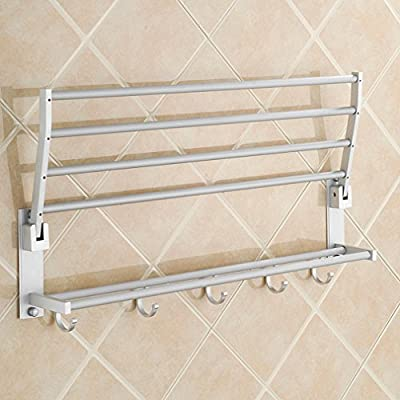 Aluminum Double Towel Bar 24 inch wih 5 Hooks ,bathroom shelves?towel holders bath ,towel rack ,bathroom shelves
