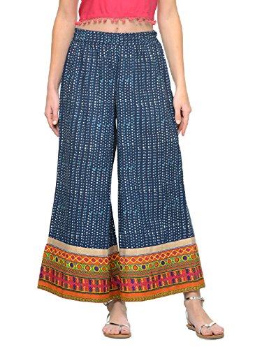 Manas Crafts Women's Wide Leg Palazzo Pants Elastic Waist Loose Plain Casual Trouser Yoga (M) (Kameez Trouser)