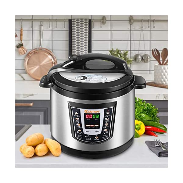 Costway Electric Pressure Cooker Brushed Stainless Steel and Aluminum, 120 V 60 Hz, 1000W, 6 quart 3