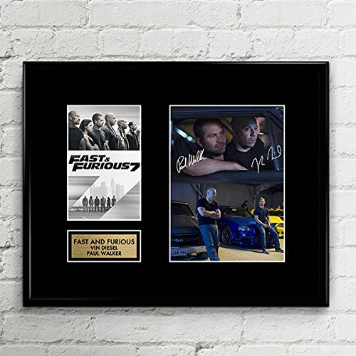Vin Diesel Paul Walker Fast Furious Signed Autographed Photo Mat Custom Framed 11 x 14 Replica Reprint Rp