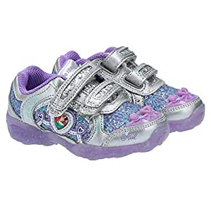 Stride Rite Disney Fashion Sneakers For Girls - Silver & Purple, 1 US
