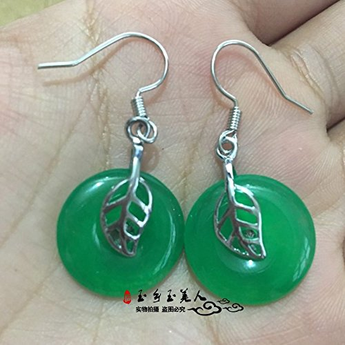 usongs Genuine natural Malay jade earrings word blessing silver hook earrings Ms Ping buckle inlaid necklace pendant earrings green shipping