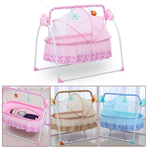 TFCFL WSD&Co Baby Cradle Swing Big Space Electric Automatic Baby Swings for Infants Indoor&Outdoor Outside with Dolls, Music. Boys or Girls bassinets Gift (Pink) (Pink) (Blue)