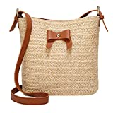 Pocciol Women Love Casual Shoulder Bag Bow Straw Bags Woven Bucket Bag Handbag Crossbody Bag (Brown)