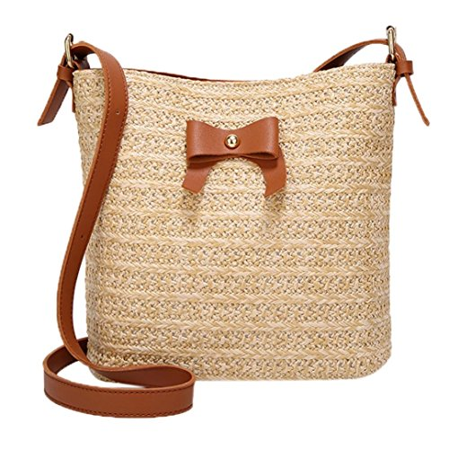 Pocciol Women Love Casual Shoulder Bag Bow Straw Bags Woven Bucket Bag Handbag Crossbody Bag (Brown) by Pocciol