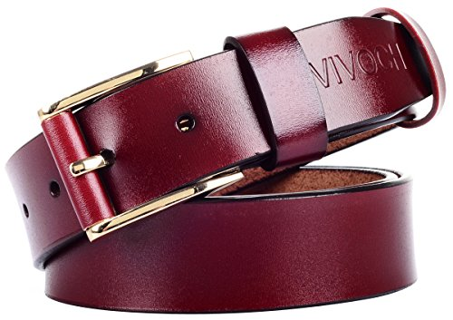 VIVOCH, Women and Girl's Genuine Cowhide Leather Belt, Vintage Casual Belts for Jeans, Skirt, Shorts Pants, Summer Dress for Women with Alloy Pin Buckle, W03110