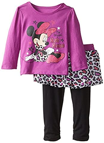 Disney Baby Girls' 2 Piece Minnie Long Sleeve T-Shirt and Knit Pant, Purple, 18 Months - Toddler Purple Character T-shirt
