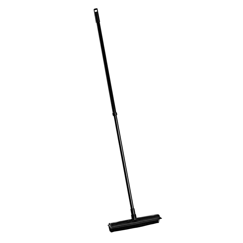 Metall//Kunststoff von 74-130 cm ausziehbar 2x Teleskopstiel Besen schwarz mit Gummiborsten und Abzieher