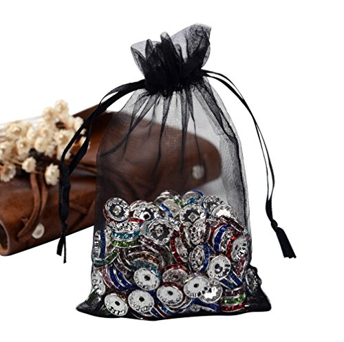 Pandahall 100 PCS 5x7 inch Black Organza Drawstring Bags Party Wedding Favor Gift (Black Favor)