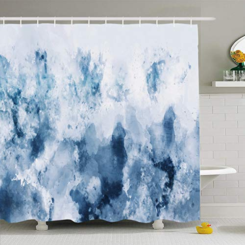 Ahawoso Shower Curtain 60x72 Inches Cold Abstract Watercolor Blue Silver Gray Tone Cool Digital Emotional Paint Painting Design Waterproof Polyester Fabric Bathroom Curtains Set with - Fabric Silver Painting
