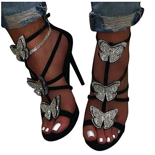 Dainzusyful Womens Open Toe Low Heel Shoes Gladiator Roman Rhinestone Covered Leaf Flame Wings Comfort Flat Sandals