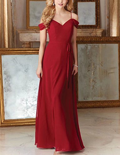 AiniDress Gown Women's Evening Long Chiffon Straps With Elegant Wedding Dress Bridesmaid Black p7rpAwq