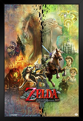 Pyramid America The Legend of Zelda Twilight Princess HD Collage Video Game Gaming Framed Poster 14x20 inch (League Of Zelda Breath Of The Wild)