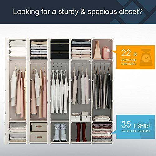 KOUSI Portable Closet Wardrobe Organizer Clothes Armoire Cube Storage Dresser for Bedroom, Large & Study, Wood Grain Pattern, 10 Cubes&5 Hanging Sections