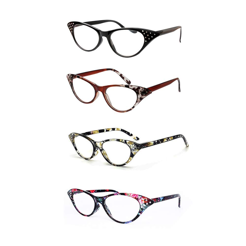 6c18c07aa21 Amazon.com  Cat Eye Reading Glasses 4 Pairs Women Stylish Readers with  Spring Hinge Fashion Clear Lens