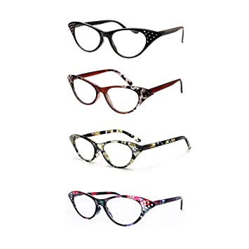 e3702478855 Cat Eye Reading Glasses 4 Pairs Women Stylish Readers with Spring Hinge  Fashion Clear Lens