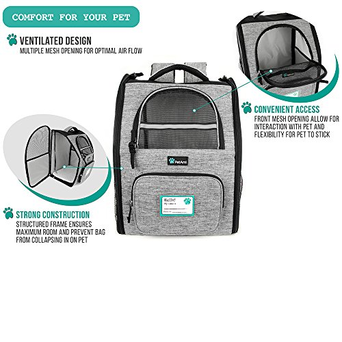 PetAmi Deluxe Pet Carrier Backpack for Small Cats and Dogs, Puppies | Ventilated Design, Two-Sided Entry, Safety Features and Cushion Back Support | For Travel, Hiking, Outdoor Use (Heather Gray) by PetAmi (Image #6)