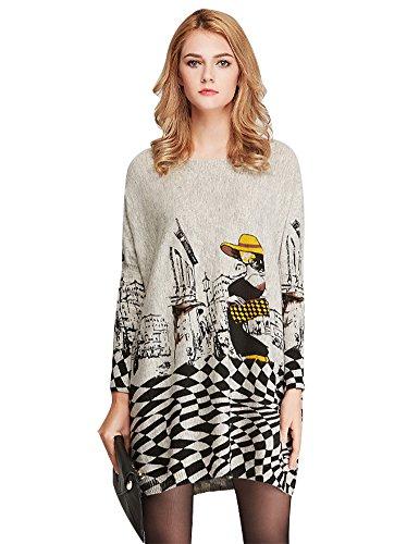 Leggings Wool Plaid (IDEALSANXUN Women's Wool Loose Lightweight Basic Plaid Printing Tunic Knit Oversized Boat Neck Oversized Batwing Sweater (Grey, One Size))