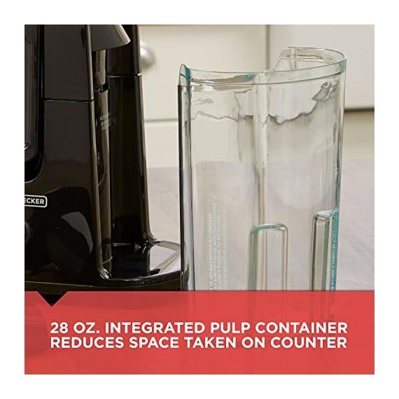 BLACK+DECKER JE2400BD 400-Watt Fruit and Vegetable Juice Extractor with Space Saving Design, Black 6