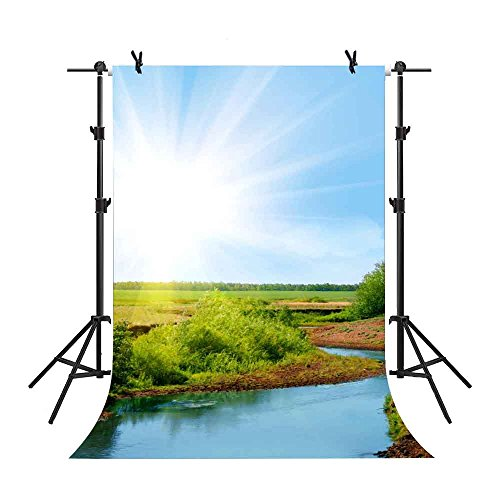 MME 5x7Ft Surban Countryside Backdrop Village Lake Pond Sunshine Natural View Field Green Plant Studio Video Family Props - Side Shopping Lake