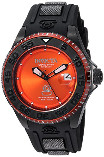 Invicta Men's 'Pro Diver' Automatic Stainless Steel and Silicone Diving Watch, Color:Black (Model: (Diver Orange Dial)