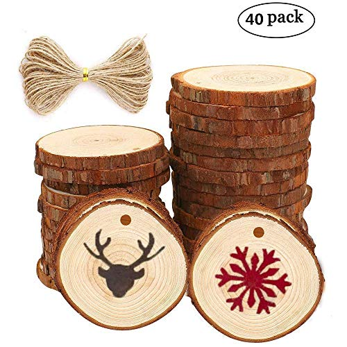 40pcs 1.6-2 inch Unfinished Natural Wood Slices with Holes and 33 Feet Natrual Jute Twine for DIY Crafts Centerpieces ()