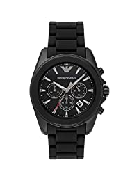 GIORGIO ARMANI MEN'S 44MM BLACK RUBBER BAND IP STEEL CASE QUARTZ WATCH AR6092