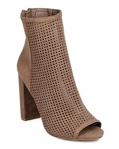 Wild Diva FF75 Women Faux Suede Peep Toe Perforated Chunky Heel Bootie - Taupe