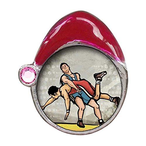Olympics Wrestling Light Rose Crystal October Birthstone Red Santa Hat Charm Bracelets by GiftJewelryShop