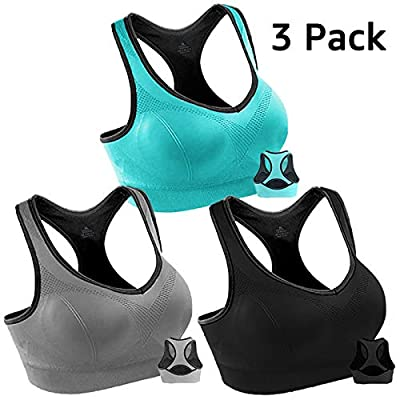 3 Pack Women Racerback Sports Bras High Impact Workout Yoga Gym Activewear Fitness Bra