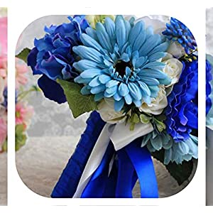 Memoirs- Wedding Bouquets Blue Artificial Wedding Bouquets Handmade Bridal Accessories Beautiful Silk Flowers for Bride,Blue 56