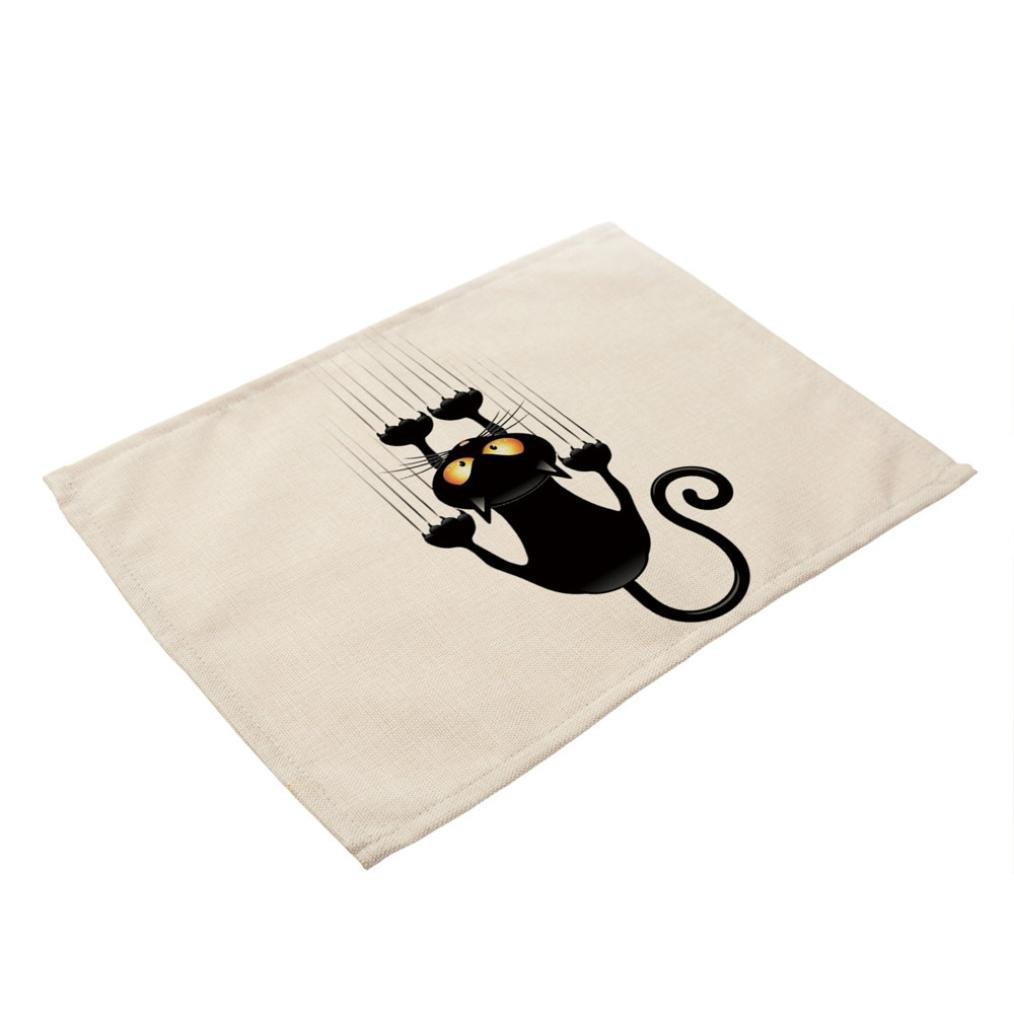 Auwer Placemat, 42 * 32cm Cat Danish Napkins Cotton Table Cloth Home Decor Wedding-Cloth-Napkins Table Napkin (C)