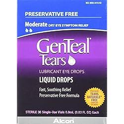 GENTEALTears Lubricant Eye Drops, Moderate Liquid Drops, 36 Sterile, Single-Use Vials, 0.9-mL Each