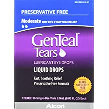 GENTEAL Tears Lubricant Eye Drops, Moderate Liquid Drops, 36 Sterile, Single-Use Vials, 0.9-mL Each