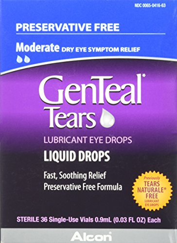 GenTeal Tears Lubricant Eye Drops, Moderate Liquid Drops, 36 Sterile, Single-Use Vials, 0.9-mL Each -