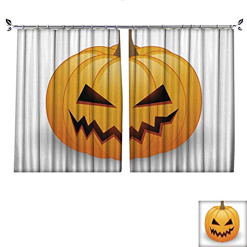 DragonBuildingMaterials Drapes for Living Room Halloween Pumpkin W63 x -
