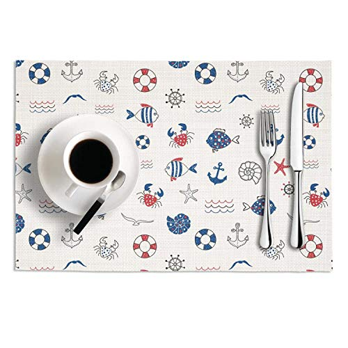 - PVC Placemats Set of 2 Hand-Painted Marine Elements Navy Heat-Resistant Non-Slip Kitchen Tablemats for Dining Table